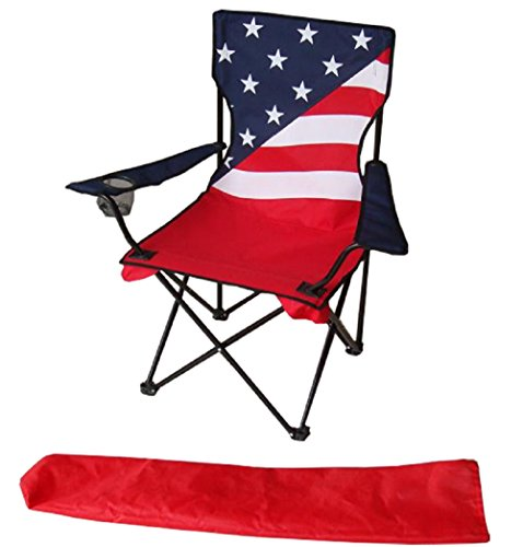Uniware American Flag Pattern Fold-able Beach Chair, with Ex