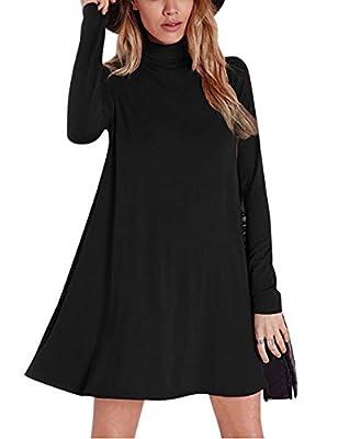 Leadingstar Women's Turtleneck Loose Casual Long Sleeve A-Swing T Shirt Dress