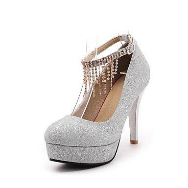 Summer Stiletto amp;Amp; Heel Chainblack Fall EU40 Silver Fleece Dress Shoes Wedding Career Winter US9 Club UK7 Red Rhinestone Spring CN41 Buckle Heels Zormey Office T6vnOEn