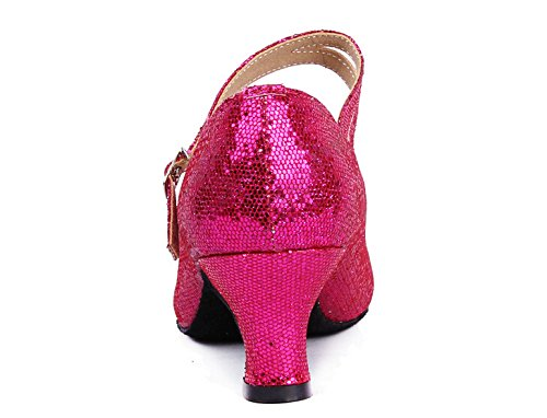Ballroom Dance Pointed Hot 6 Dancing Y toe Latin 5 Glitter Heels Strap Women's Pink Shoes wtqAnUEwX