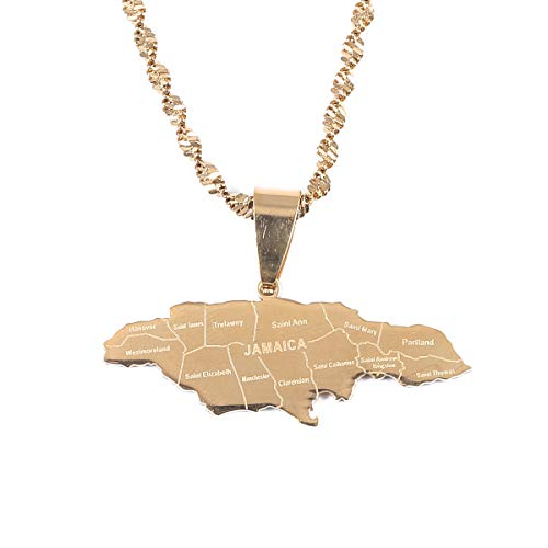 (Stainless Steel Map of Jamaica with City Pendant Necklaces for Women Girl (Gold)