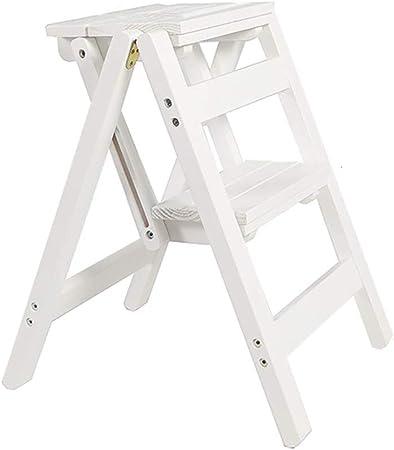 HHSTOOLS Taburete portátil de 2 escalones Taburete de Madera Maciza Escalera Plegable Multifuncional Silla de Escalera de deformación Creativa Taburete de Doble Uso para Oficina en casa: Amazon.es: Hogar