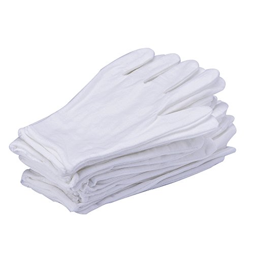 eBoot 12 Pairs White Lycra Cotton Gloves Work Gloves (Medium) -