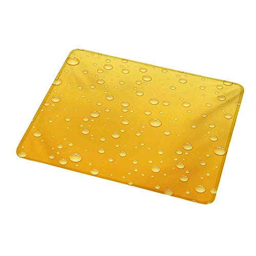 Mouse Pad Custom Design Yellow,Yellow Ombre Background Like Beer in a Glass with Water Drops Graphic Artwork Prints,Yellow,Non-Slip Rubber Comfortable Customized Computer Mouse Pad 9.8