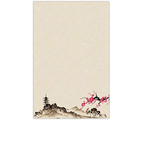 YaYstationery Notepads - Memo Pads - Scratch Pads - Writing Pads - Illustrated Notepads - 5.5 x 8.5 inches - Thick Premium Paper - Printed Notepad - Oriental Mountain