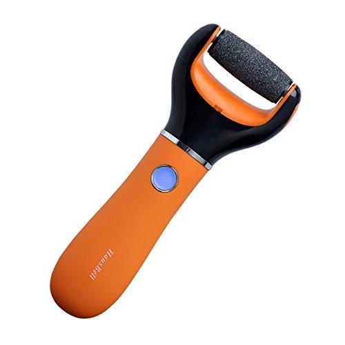 Fichier électronique pied, [FDA certifiées] Hausbell 203 pédicure Rechargeable outil sans fil double vitesse électrique Callus Remover pour soins des pieds (Orange)