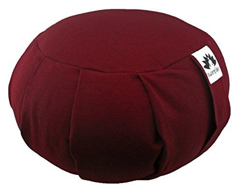 Waterglider International Zafu Yoga Meditation Pillow with USA Buckwheat Fill, Certified Organic Cotton- 6 Colors (Burgundy)