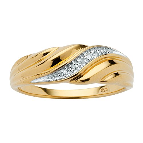 Men's Diamond Accent 18k Gold over .925 Sterling Silver Swirled Ring