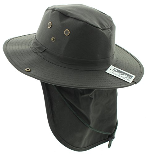 JFH GROUP Wide Brim Unisex Safari/Outback Summer Hat w/Neck Flap (FB Olive XL)