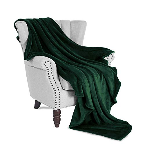 Exclusivo Mezcla Large Flannel Velvet Plush Throw Blanket - 50 x 70 (Forest Green)