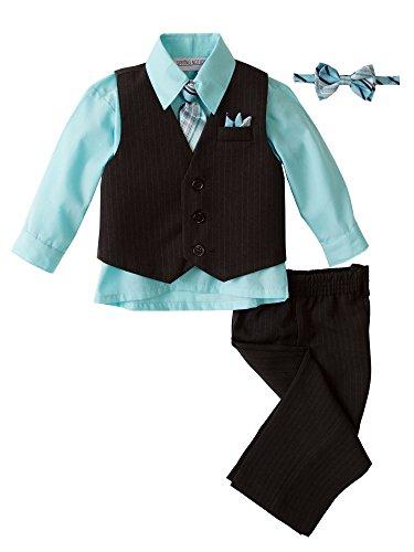 Spring Notion Baby Boys' 5 Piece Pinstriped Vest Set Aqua 24 Months