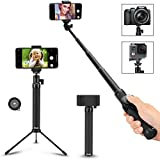 Selfie Stick, Arespark Wireless Extendable Selfie Monopod Portable Selfie Pole for Gopros, DSLR, Cameras & iPhoneX 8 7 Plus Android Samsung Galaxy S9 S8 Plus Cellphones with Bluetooth Remote Control, Extendable, Best Gifts (Selfie Stick-02)