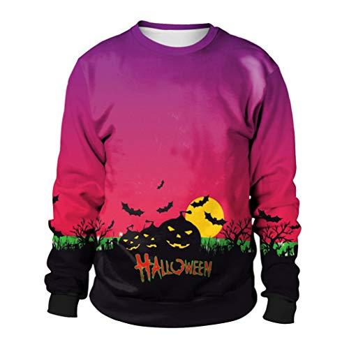 QIQIU Newest! Women's 3D Halloween Pumpkins Printing Long Sleeve Hoodie Sweatshirt Pullover Party Tops (XL, Purple) -