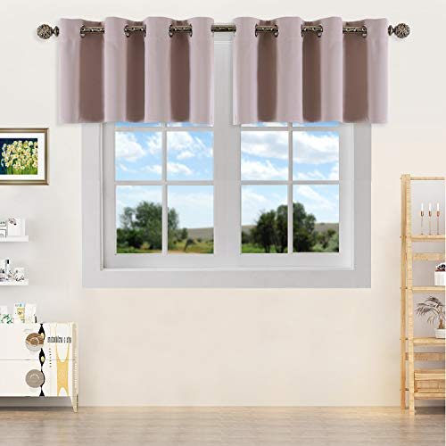 YGO Light Khaki Room Darkening Kitchen Valances - Blackout Grommet Tier Curtain Panels for Kitchen, Basement Room, Bedroom (2 Pieces, 52