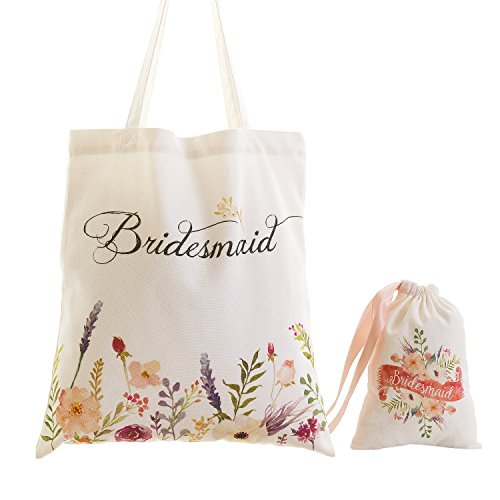 Ling's moment Bridesmaid Cotton Canvas Tote Bag Favor Bag Kit with Flower Printed for Vintage Fall Wedding Bridal Party Bridesmaid Gifts