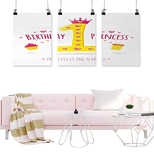 Decorative Picture 1st Birthday,Quote Design with Sweet Princess Girl Theme Party with Hearts Image,Yellow and Hot Pink Nordic Decoration Home ()