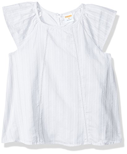 Gymboree Baby Girls Flutter Sleeve Woven Top, White Embroidered Stripe, 5T (Shirt Sleeve Woven)