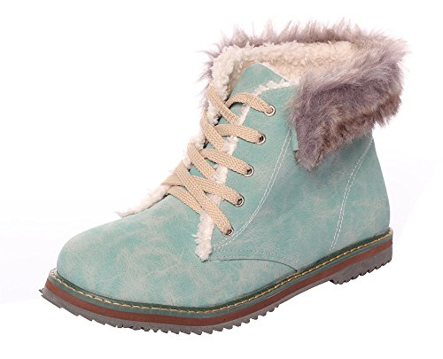 CAIHEE Women Flat Lace Up Ankle Bootie Snow Boots Fur Boots Winter Warm Snow Shoes