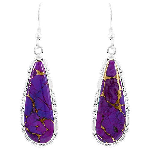 (Turquoise Earrings 925 Sterling Silver & Genuine Turquoise (Choose Color) (Purple Turquoise))