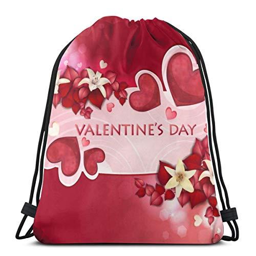 Valentine's Flowers Drawstring Bag Backpack Travel Gymsack Drawstring Backpack Sackpack
