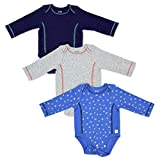 Fruit of the Loom Baby 3-Pack Long-Sleeve Grow & Fit Bodysuits - Unisex, Girls, Boys (Blue, Grey, Navy, 6-12 Months)
