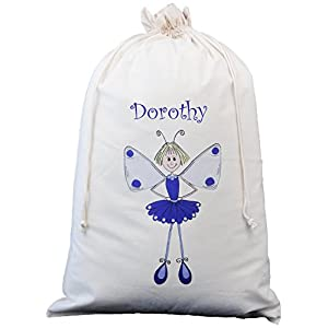 The Cotton Bag Store - Laundry Personalised Purple Ballerina Fairy Design Xl Natural Cotton Laundry Bag / Sack 50Cm X 75Cm Cream