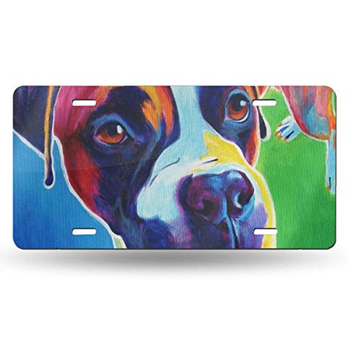 NLXZD Colorful Boxer Pet Portrait Novelty License Plate American Vehicle License Plate