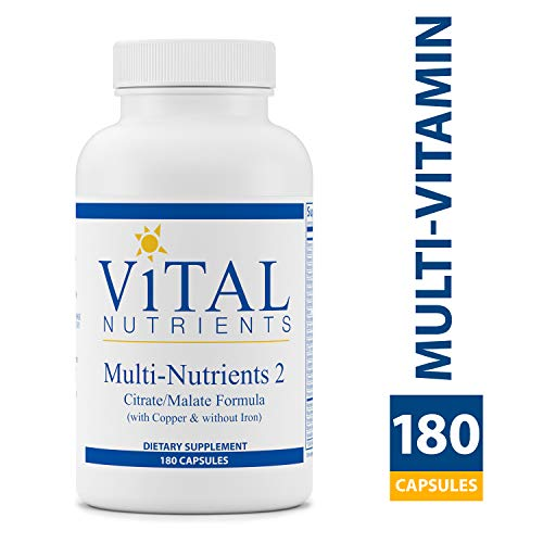 Multi Nutrient System - Vital Nutrients - Multi-Nutrients 2 - Citrate/Malate Formula (with Copper & without Iron) - Multi-Vitamin/Mineral - Potent Antioxidants - Gentle Bioavailable Form - 180 Vegetarian Capsules per Bottle