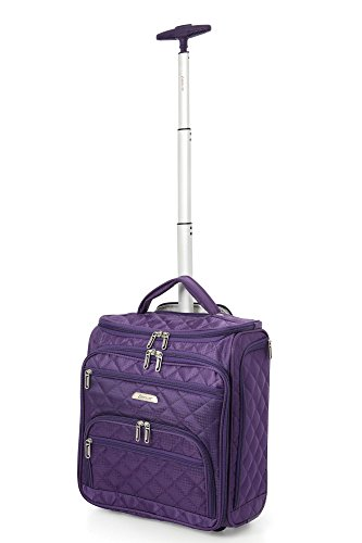 Aerolite 16″ Carry On Under Seat Wheeled Trolley Luggage Bag for American Airlines, Delta, Southwest & More! (Purple)