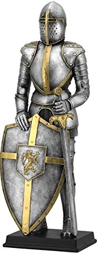 Custom   Unique  13  Inch  1 Single Large  Home   Garden  Standing  Figurine Decoration Made Of Resin W  Classic Medieval Time Knight Armor Sword   Sheild Style  Gold  Silver   Black Color