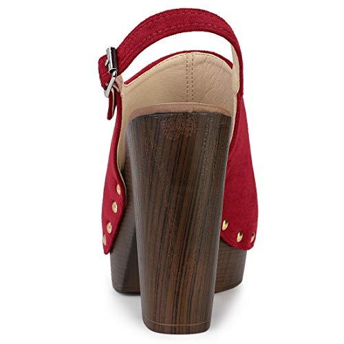 Allegra K Women's Open Toe Slingback Platform Chunky Heel Sandals