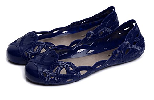 Bumud Mujeres Slip On Ballet Flats Jelly Zapatos Blue