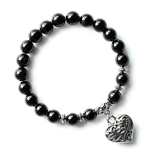 Black Onyx Agate Natural Healing Stone Heart Beaded Bracelet Stretchy Charm Beads Bracelet for Women