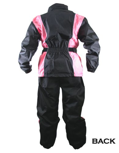 Xelement RN4786 Womens Black/Pink 2-Piece Motorcycle Rain Suit - X-Large by Xelement