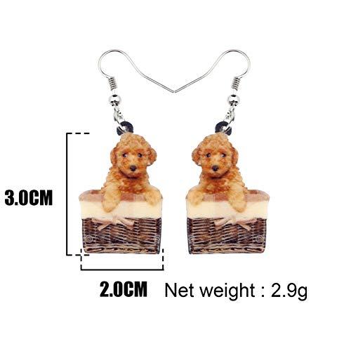 Basket Earrings Dangle (IUTING Acrylic Sweet Basket Teddy Poodle Dog Earrings Dangle Drop Animal Jewelry for Women Girls Kid Statement Gift)