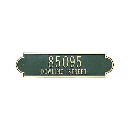 (Richmond Rectangular Red/Gold Estate Lawn Two Line Horizontal Address Plaque)