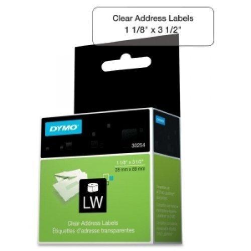 30254 Clear Address Labels - Dymo 30254 LW Address Labels, 1-1/8 x 3-1/2, Clear, 130 Labels/Roll, 1 Roll/BX