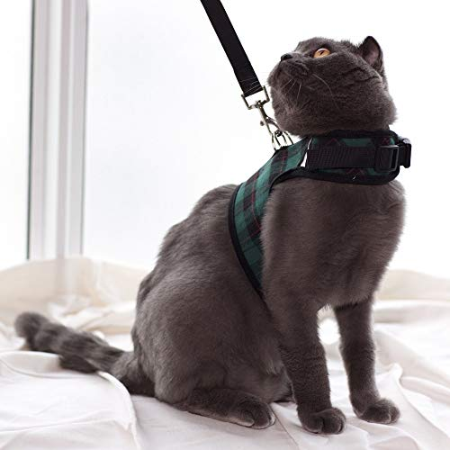 Escape Proof Cat Harness with Leash - Adjustable Soft Mesh - Best for Walking (M, Green Plaid)