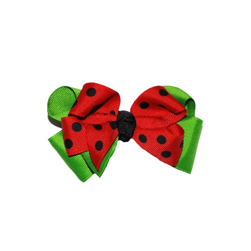 Squishy Pet Products Sprinkles Collar Accessories, Ladybug Love, 3-Inch, Red/Black Dot and Green Bow