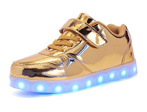Honeystore Unisex LED Leuchtet Schuhe Sneakers mit USB Einem Geschenk der Kinder Jungen Mädchen Halloween Weihnachten Neujahr Gold