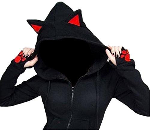 SHOWNO Womens Cat Ear Zip Front Drawstring Color Blocked Hooded Sweatshirt Jacket Coat Black M
