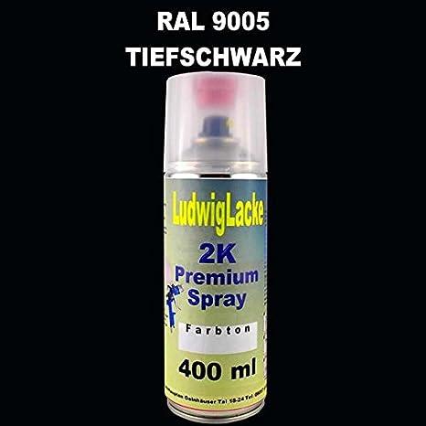 Ludwig Lacke Ral 9005 Tiefschwarz 2k Premium Spray 400ml Auto