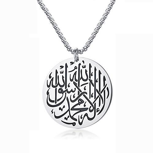 J.Me.Mi Men's Titanium Steel Necklace Religious Symbol Engraved Medallion Pendant Gold Plated Anniversary Available Jewellery Gift,Silver