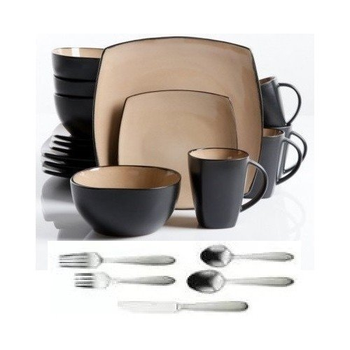 Square Dinnerware Service for 8, Plates Bowls Mugs Flatware Silverware, 77-Piece Set, Taupe & Black by Gibson Home