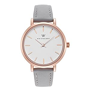 WRISTOLOGY Charlotte – 4 Options – Lines Womens Watch Rose Gold Petite Ladies Grey Leather Strap Band