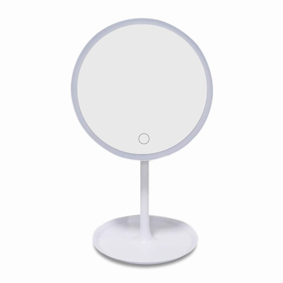 Makeup Mirror with Lights Rechargeable Lighted Vanity Mirror Dimmable LED Cosmetic Mirror with Stand Wireless Counter-top illuminated Mirror Rotates 45 Tabletop Portable Round White