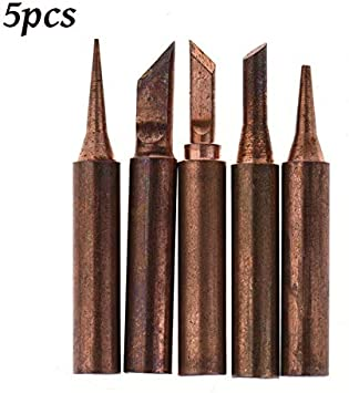 6pcs Copper Solder Iron Tips 900M-T Station Soldering 852D 8586 969 938 937 936