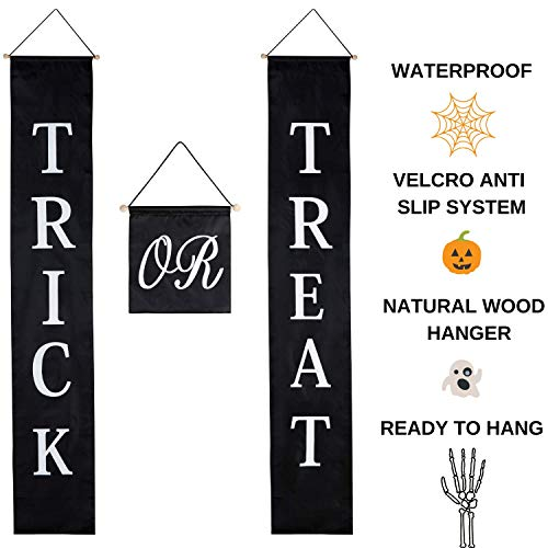 Halloween Decor Trick or Treat Door Set - Halloween Decorations Outdoor Signs. Waterproof, Sun Resistant Material. Great For Welcome Sign Banner Indoor & Outdoor + The Office. Kids Love It, -