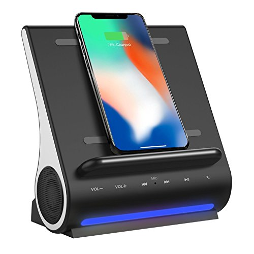 Qi Wireless Charging Docking Station Fast 15W and Bluetooth Speaker System D108 Super Bass Stereo Output 10W with Multi USB Ports for iPhone X/8/8plus iPad Android Samsung S8/S8plus by DORNLAT