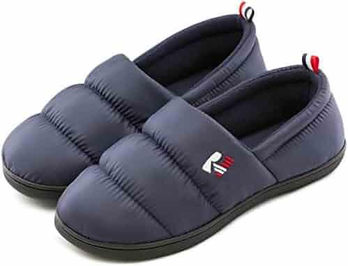 ccc119fb3d RockDove Men's Down Memory Foam Slippers Warm Fleece Lined Indoor Outdoor House  Shoes